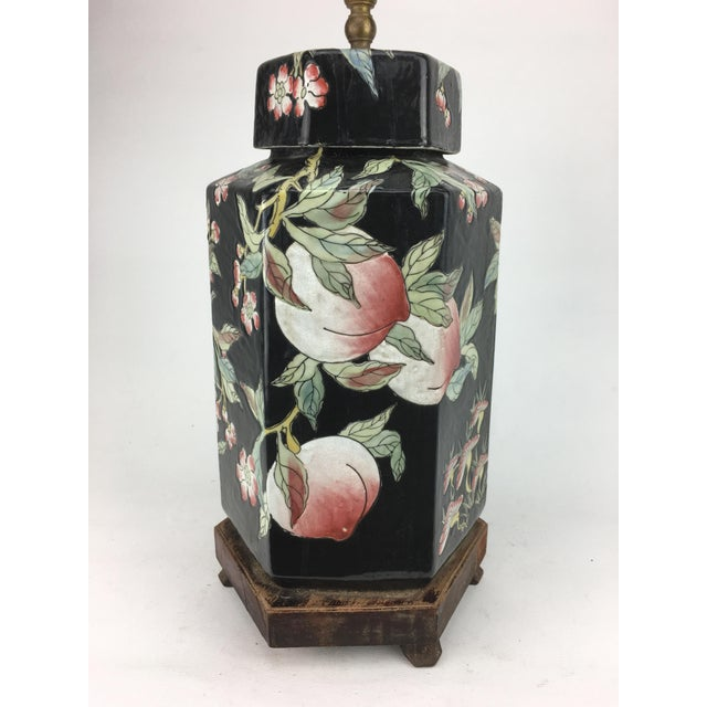 1970s Chinese Hexagonal Vase Lamp With Longevity Peaches For Sale - Image 4 of 7