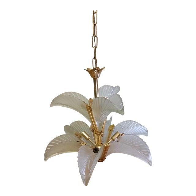 Art Deco Italian Brass & Satin Glass Chandelier - Image 1 of 11