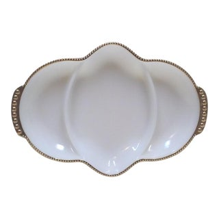 Gilded Milk Glass Divieded Serving Dish