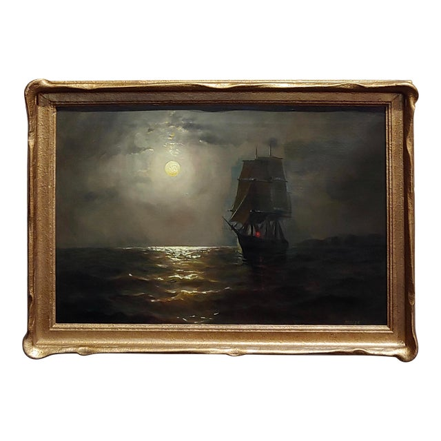 19th Century Ship Sailing by Moonlight -Oil Painting Signed by Miller For Sale