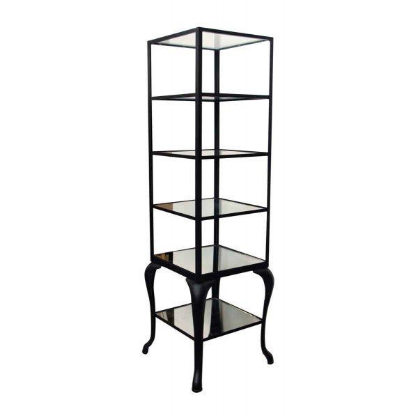 Cast Steel Shelving Unit with Distressed Mirrored Glass Shelves For Sale - Image 5 of 5