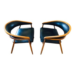 Curved Beech Upholstered Chairs by Thonet in the Style of James Mont - A Pair For Sale