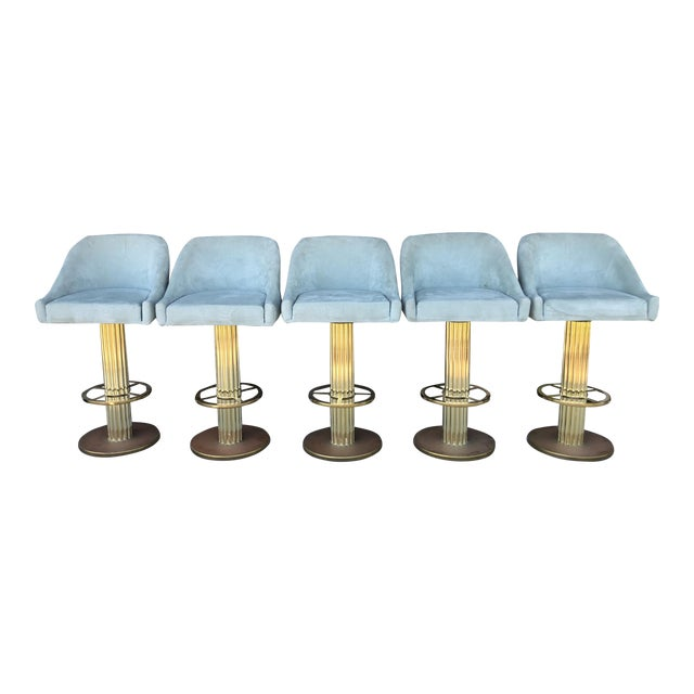 Design For Leisure Brass Bar Stools - Set of 5 For Sale