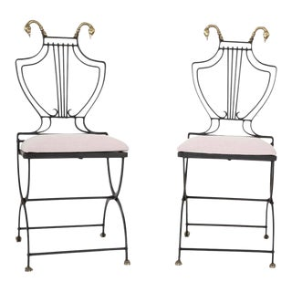 French Neoclassical Wrought Iron Garden Chairs- a Pair For Sale