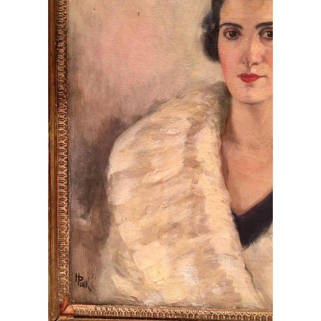 Early 20th Century Original Oil Painting Female Portrait -Framed & Signed By, H. Pink For Sale - Image 5 of 10
