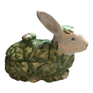 Vintage Italian Hand Painted Bunny Tureen For Sale