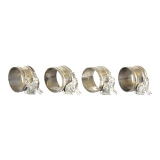 Antique Silverplate Rabbit Napkin Rings - Set of 4 For Sale