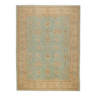Light Blue and Tan Pakistani Rug - 9' X 12' For Sale