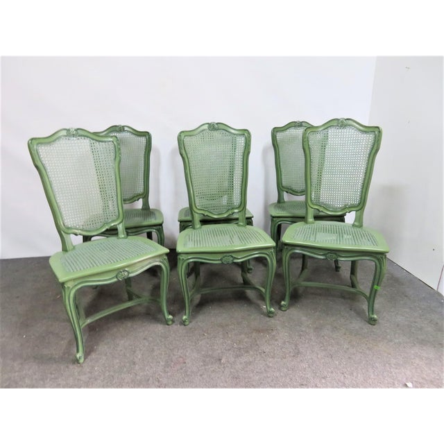 Green Louis XV Custom Painted Caned Dining Chairs- Set of 6 For Sale - Image 8 of 8