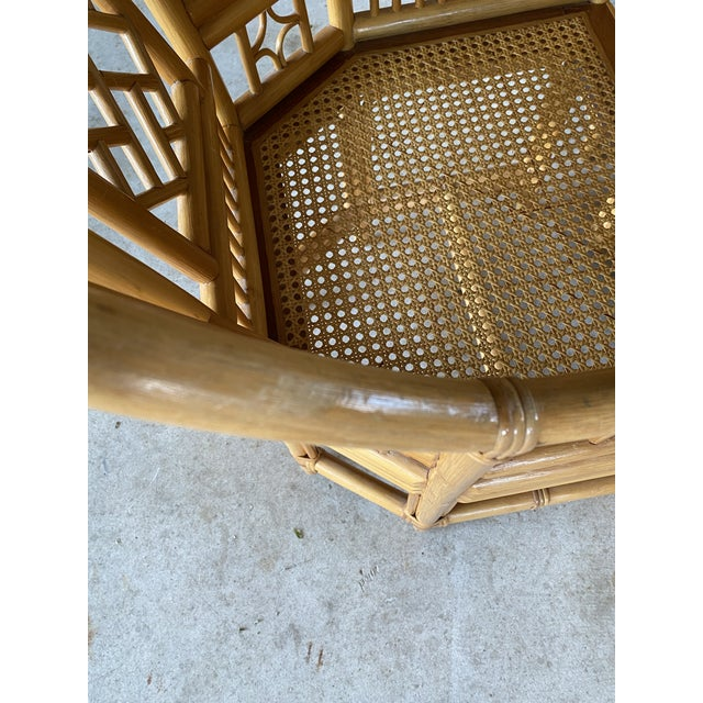 Brighton Pavilion Vintage Brighton Pavilion Style Bamboo and Wicker Weave Table Four Chairs For Sale - Image 4 of 13