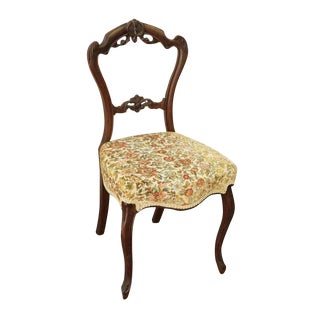 Floral Cushion Carved Wood Chair For Sale