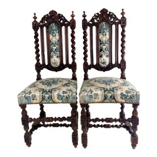 Hand-Carved Oak Side Chairs - Pair For Sale