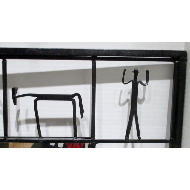Frederick Weinberg Pair Mirrors 1950's Frederick Weinberg Mid-Century Modern Giacometti Style Wrought Iron For Sale - Image 4 of 9