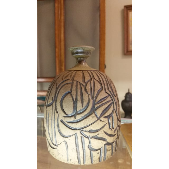 1960s Mid-Century Incised Artisan Stoneware Weed Pot Vase For Sale - Image 5 of 6