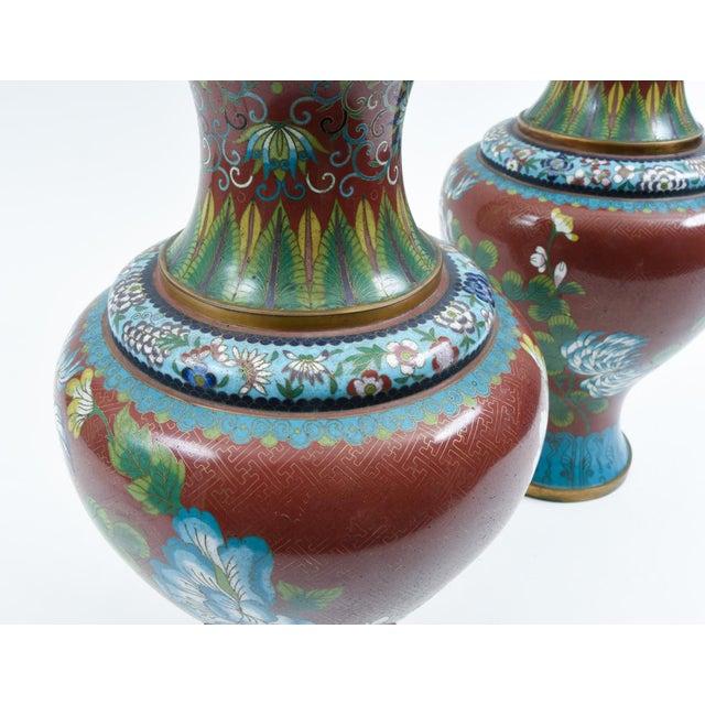Late 19th Century Cloisonné Floral Decorative Vases - a Pair For Sale - Image 9 of 13
