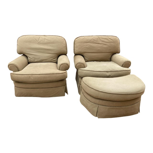 Upholstered Ralph Lauren Club Chairs and Matching Ottoman - a Pair For Sale