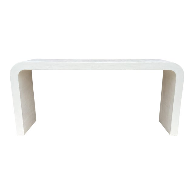 Marit Mid-Century Raw Plaster Waterfall Console For Sale