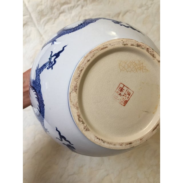 Ceramic Antique Chinese Blue and White Dragon Urn/Vase For Sale - Image 7 of 8