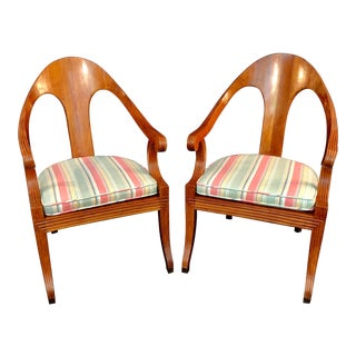 Vintage Italian Arch Spoon Back Chairs With Cane Seats - a Pair For Sale