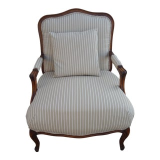 Pinstripe Duck Beige Bergere Chair For Sale