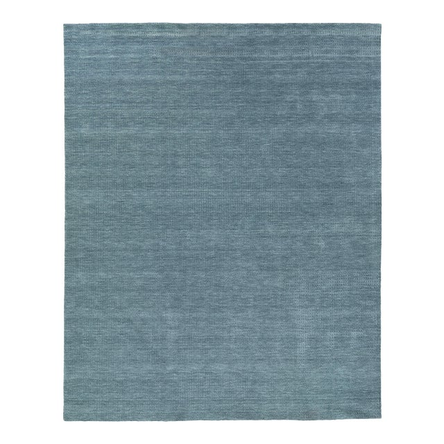 Exquisite Rugs Worcester Handwoven Wool Denim Blue - 6'x9' For Sale