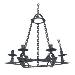 Italian Renaissance Style Iron Star of David Chandelier For Sale