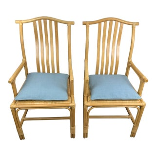 Late 20th Century Vintage Blonde Bamboo Armchairs- A Pair For Sale