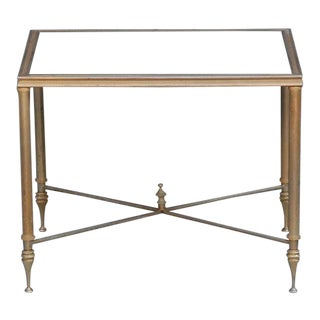 Elegant Gold Side Table With Antique Mirrored Glass For Sale