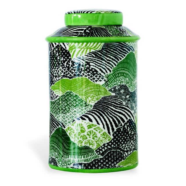 Ceramic Madcap Cottage Green/Blue Porcelain Lidded Jar For Sale - Image 7 of 7