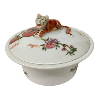 Antique Qing Dynasty Covered Dish Tiger Theme For Sale