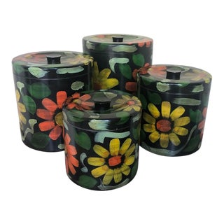 Vintage Hand Painted Floral Metal Canisters - Set of 4 For Sale
