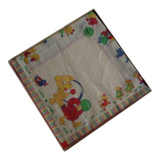 1930s Vintage Children's Linen Animals Handkerchief & Original Box - 2 Pieces For Sale