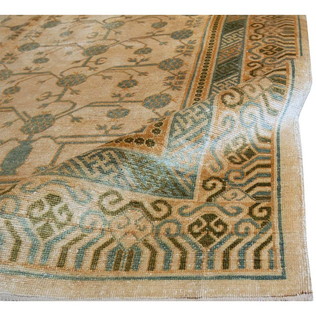 """MANSOUR Mansour Pure Silk Khotan Rug - 6'8"""" X 9'10"""" For Sale - Image 4 of 4"""