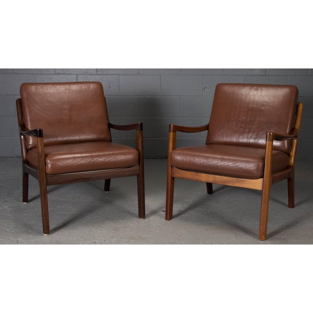 Pair of Senator Chairs by Ole Wanscher in Brown Leather For Sale - Image 9 of 9