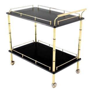 Faux Bamboo Brass Gallery Two Tier Rectangular Rolling Bar Tea Cart For Sale