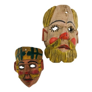 Guatemalan Carved Wood Masks - A Pair