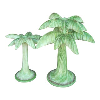 Ceramic Palm Tree Candlestick Holders - Set of 2 For Sale