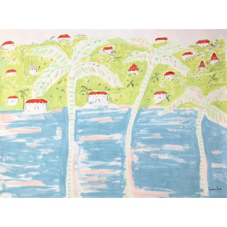"""Lauren Jane """"Palm Town Bay"""" Contemporary Painting"""