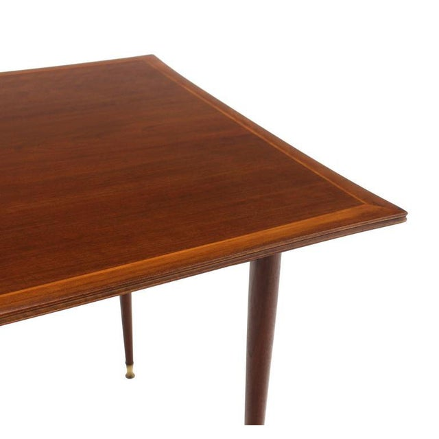 Very nice Mid-Century Italian modern walnut game table on tapered legs with brass tips.