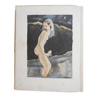 Vintage Hand Colored Copperplate Engraving-Mariette Lydis-Paris C.1935 For Sale
