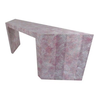 Colorful Modern Grasscloth Console Table For Sale