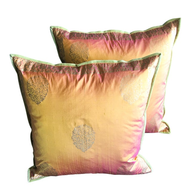 Copper & Gold Lamé Silk Pillow Covers - A Pair - Image 1 of 4