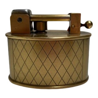 1950s Swiss Made Lift Arm Mid Century Table Lighter With Webbed Pattern For Sale