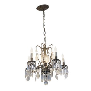Vintage Mid Century Brass and Crystal Chandelier For Sale