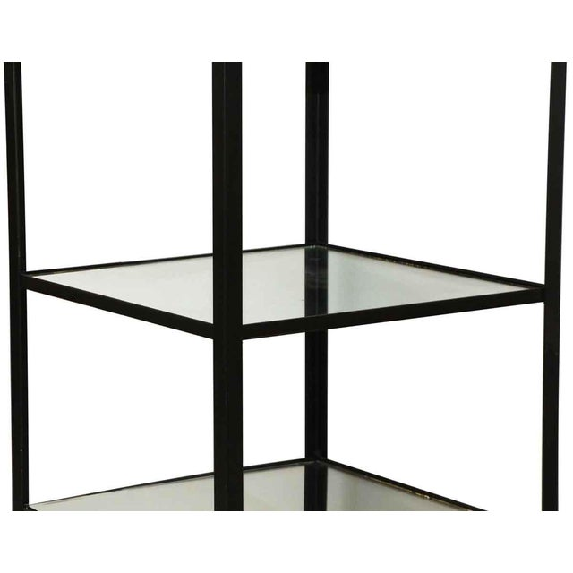 Industrial Cast Steel Shelving Unit with Distressed Mirrored Glass Shelves For Sale - Image 3 of 5