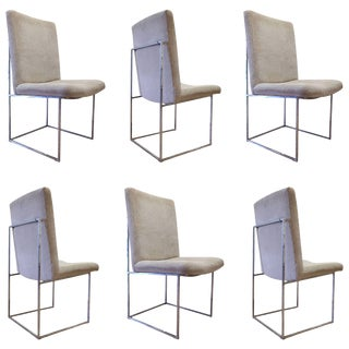 Milo Baughman Six Chrome Dining Chairs For Sale