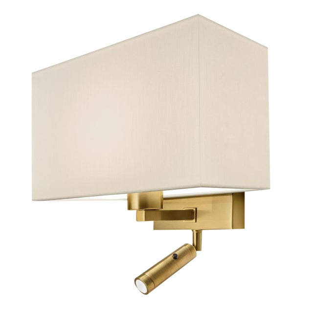 Combination Wall Light With Led Reading Light in Brushed Brass For Sale