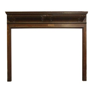 Fireplace Wood Mantel With Dentil Details, 1900s