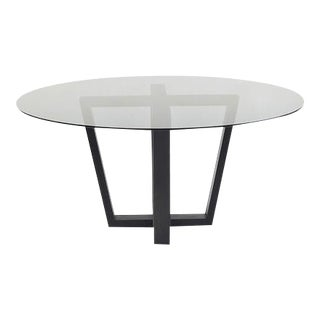 Smoked Glass and Oak Base Dining Table For Sale