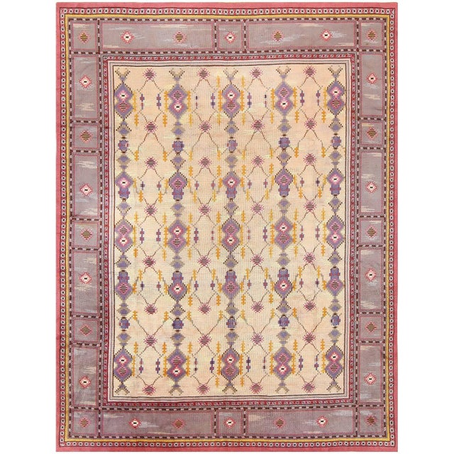 Vintage Scandinavian carpet, origin: Scandinavia, circa mid-20th century. Here is a delightful and exciting vintage...